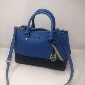 Sutton Medium Heritage Blue/Navy Leather Satchel